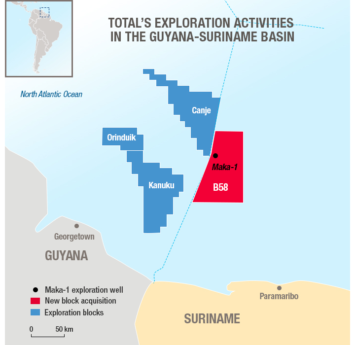Total Enters Suriname With 50% Stake In Block 58