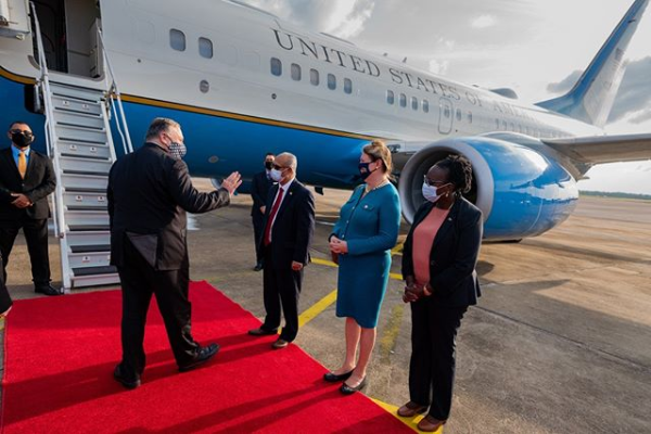 US Secretary Of State Mike Pompeo Arrives In Guyana